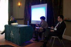 Panel 1 - (L-R) Eleni Christodoulou (Birmingham), Dr Lena Karamanidou (City), Dr Andrew Liaropoulos (Chair - Piraeus)