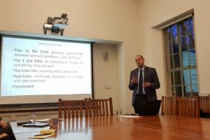Pictures from the book launch \'Crisis in the Eurozone Periphery by GPSG Secretary Dr. Dimitris Tsarouhas at Harvard University, Center for European Studies, November 2018